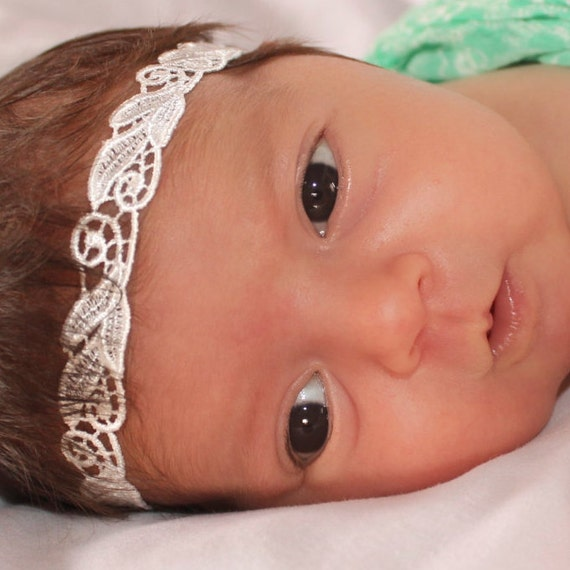 Lace Baby Headband, Baby Headband, Beige Baby Headband, Baby Halo Headband, Lace Headband, Newborn Headband, Headbands For Babies, Toddler