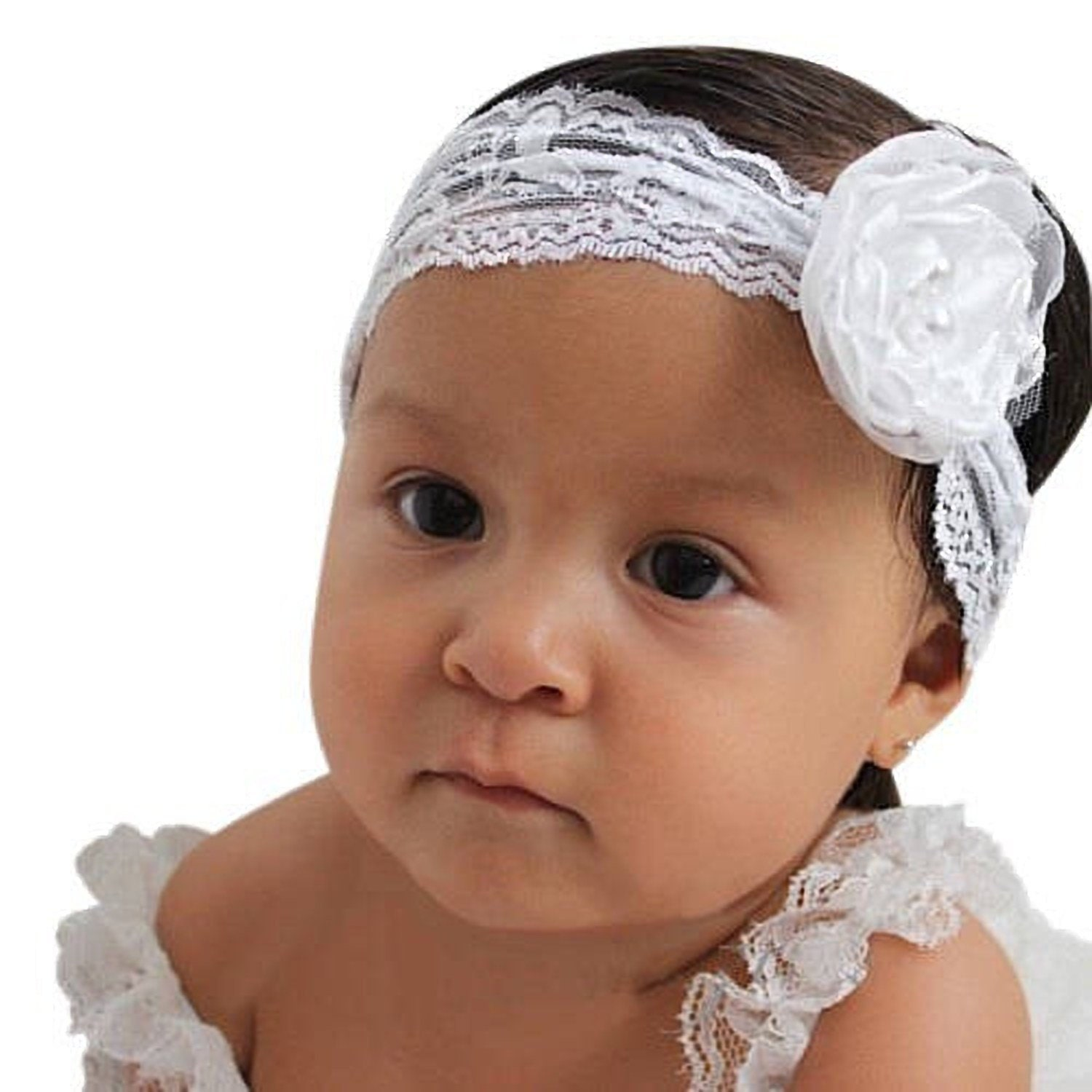 White Flower Headband Newborn Headband Infant Flower Headband