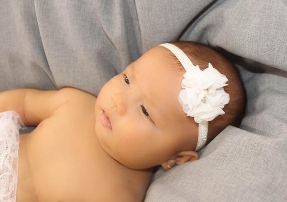 Toddler Headband, White Baby Headband, Baby Headband, Headband White, Newborn Headband, Flower Headband, Baptism Headband
