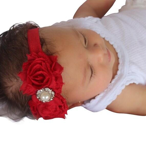 Valentine's Day Headband, Red Headband, Baby Headband, Baby Red Headband, Rhinestone Headband, Newborn Headband, Flowers Headbands
