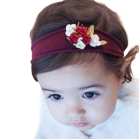 Flowers Headband, Flower Headband Baby, Flower Headband Wedding, Flower Headband Toddler, Flower Girl Headband, Burgundy Headband