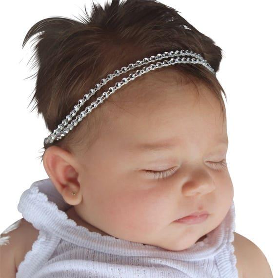 Two Strand Headband, Silver Headband, Double Strand Headband, Hippie Headband, Silver Headbands,  Baby Headband, Girls Headband