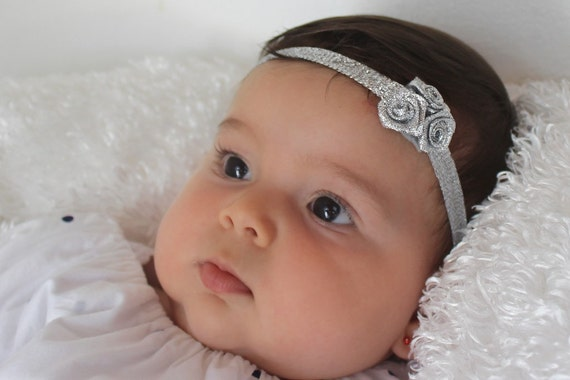 Baby Headband, Silver Flower Baby Headband, Newborn Baby Shower Gift, Infant Headbands, Flower Baby Headband, Gift for Baby, Silver Headband