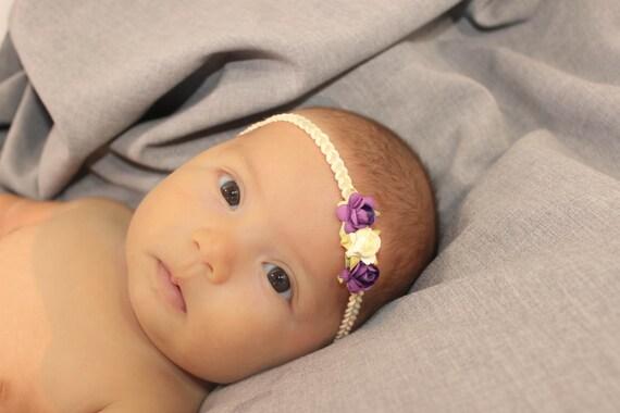 Purple Headband, Baby Headbands, Ivory Baby Headpiece, Headband Purple, Infant Headbands, Baby Headband, Halo Headband