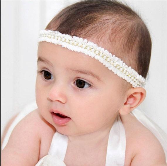 baby headband, Gold headband, baptism headband, pearls baby headband, ivory headband, Baptism headband, Baby Headband, Newborn