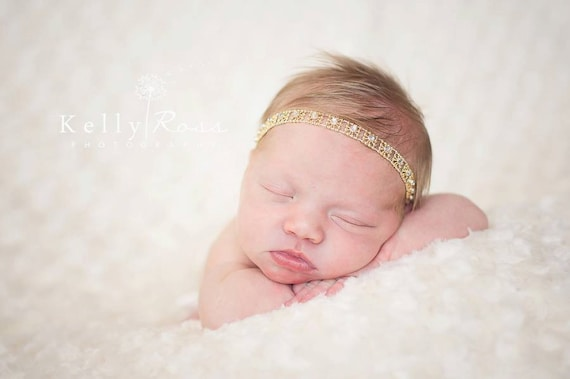 Rhinestone Headband, Rhinestone Headpiece, Bridal Headband, Rhinestone Headband Baby, Crystal Headband, Gold Headband, Halo Headband