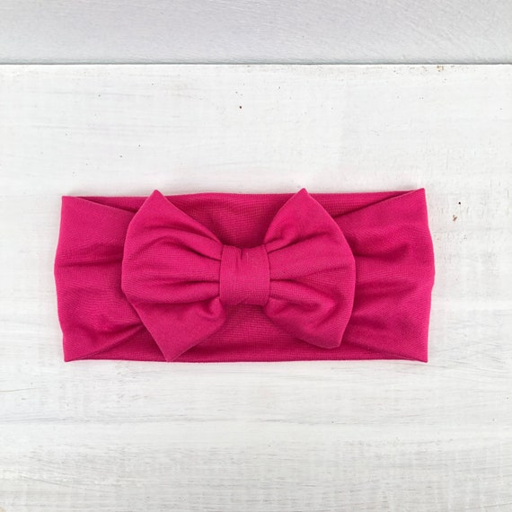 Fuchsia Bow, Baby Headband Bow, Baby Headband, Newborn Headband, Infant Headband, Baby Girl Headband, Baby Head Wrap, Toddler Headband,