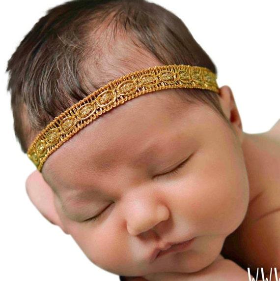 Gold Baby Headband, Baby Girl Headband, Newborn Headband, Gold Headband, Baby Headband, Baptism Headband, Gold Headbands, Headband Baby