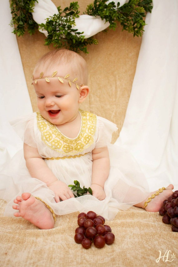 Birthday Girl Headband, Grecian Headpiece, Gold Headband, Greek Headband, Gold Crown, Leaves Headband, Baby Headband, Infant Headbands