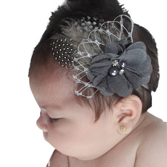 Headband for Baptism, Gray Flower Headband, Baby Headband, Headbands For Babies, Gray Headband, Infant Headbands, Baptism Headband, Babies