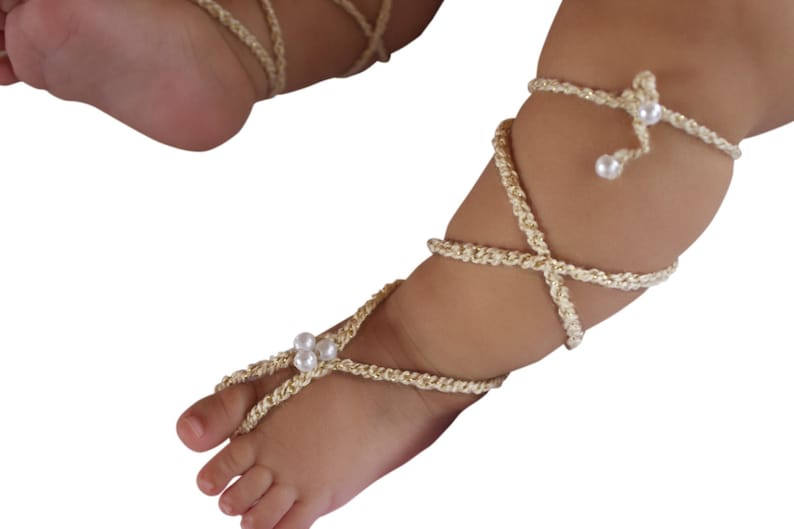 3c39c2f8f10 Gold Gladiator Sandals Barefoot Sandals Crochet Baby