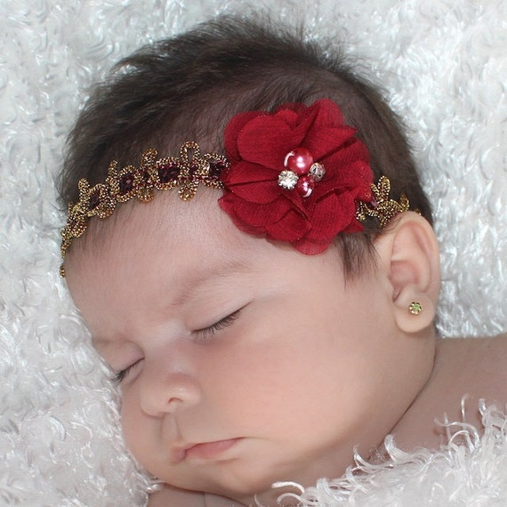 Red Flower Headband Baby, Red Headband, Baby Headband, Flower Headband, Baby Headband Flower, Pearls Headband, Gold Headband, Baby Headpiece