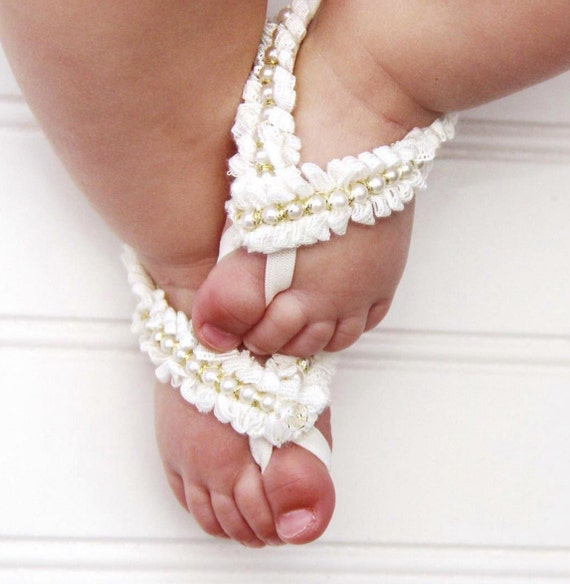 Baptism Baby Sandals, Barefoot for Baptism, Baby Sandals, Baby Christening, Pearls Sandals, Baptism Accessories, Ivory Sandals