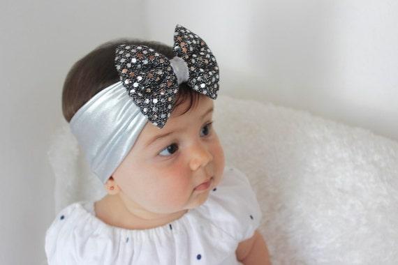 Black HeadbandSilver Bow Headband, Bow Head-Wrap, Silver Headwrap, Baby Headband, Bow Headband, Silver Headband, Black Headband