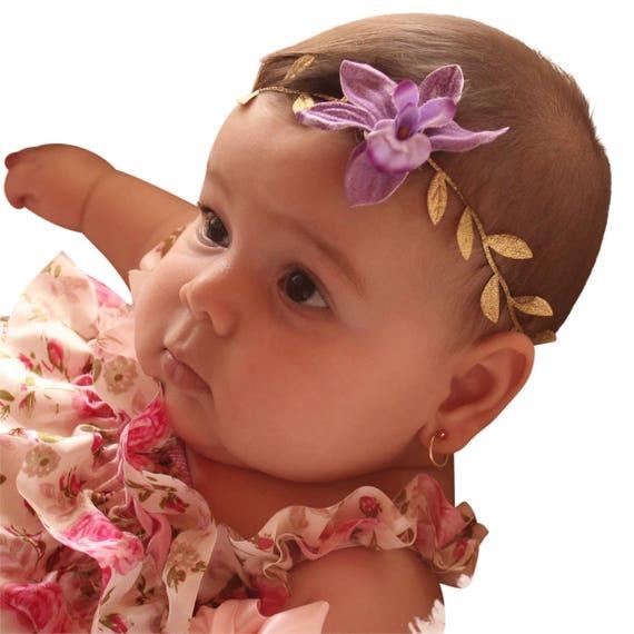 Gold Headbands, Purple Headband, Grecian Headpiece, Flower Headband, Infant Headbands, Greek Headpiece, Toddler Headband, Newborn Headband