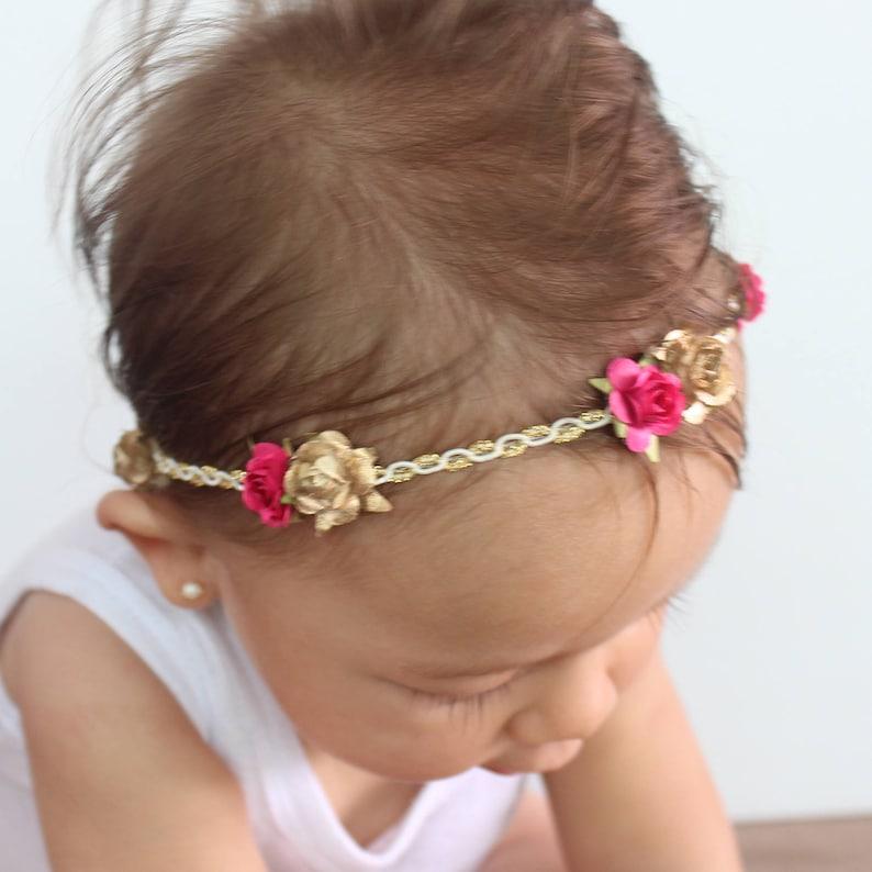 Gold Headband Flowers Crown Gold Leaf Headband Pink Headband Paper Flowers Headband Girls Headband Flowers Pink Baby Headband