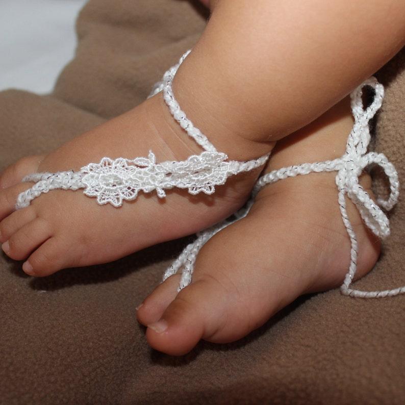 Baby White Sandals Baptism Sandals Sandals for Babies Baby Barefoot Sandals White Baby Sandals Baby Shoes White Crochet Sandals
