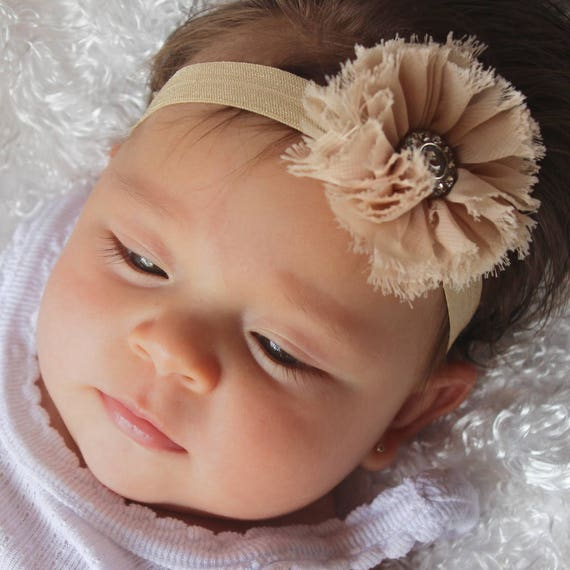 Toddler Headband, Tan Headband, Flower Headband, Baby Girl Headband, Baby Headband, Infant Headband, Flower Girl Headband, Baby Girl Gift