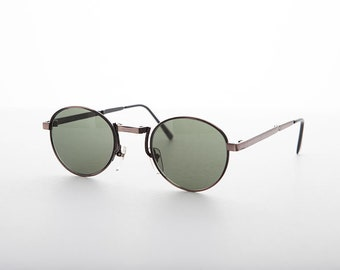 0506b91681 Vintage Retro Round Folding Sunglasses. Folding Sunglasses with Case. Retro Folding  Glasses. Green Lenses . Copper Round Frame Fold-able