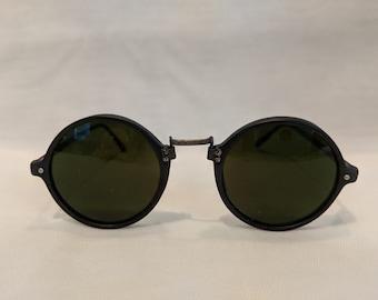 799015492e Vintage Retro Round Black Sunglasses. Small Round Horn Rimmed Vintage  Sunglasses. 1980 s Round Black Sunnies. Hippie Sunnies