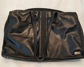 a51a78ae60 Vintage Perlina Attache Bag. Large Perlina Black Leather Computer Bag. Soft  Leather Briefcase. Large Black Leather Shoulder Messenger Bag