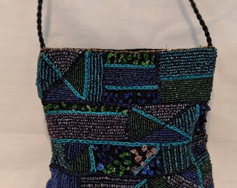 Vintage Good Antique Art Deco Pearl Embellishment Blue Crochet Carnival Bead Drawstring Purse Grade Products According To Quality