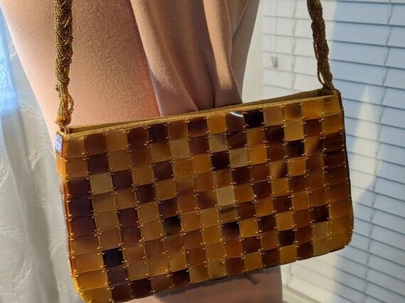 Vintage Shell Tile Shoulder Bag.  Lucite Shell Look Gold Tortoise Tiles Purse.  Seed Bead Strap. Rectanguler Shell Tile Honey Tortoise Bag
