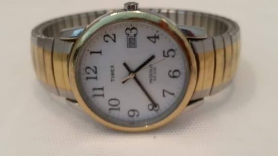 Vintage Timex Man's Watch. Two Tone Timex Indigo Vintage Wrist Watch. Vintage Retro Round Face Timex Watch. Man's Vintage Timex Watch. #2