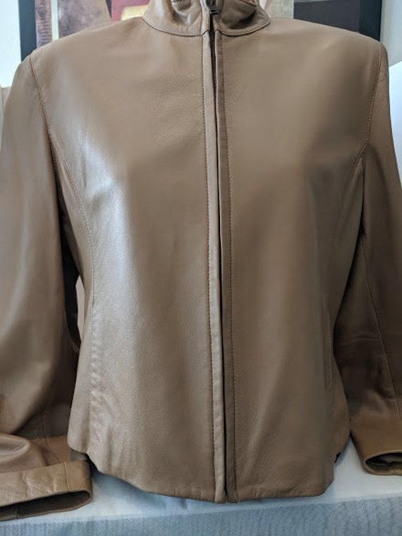 Vintage Jones New York Short Leather Jacket. Butterscotch Soft Leather Women's Leather Jacket. Jones NY Soft Zipper Front Short Jacket.