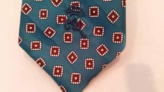 Vintage Countess Wara Neck Tie. Teal Blue Countess Wara Men's Tie. Designer Silk Countess Wara Neck Tie.