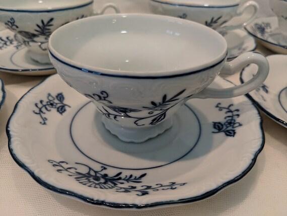 Blue Dresden 1957 Tea Cups and Saucers. Seven Dresden Tea Set Navy Blue Flowers Blue Trim. Sphinx Blue Dresden Tea Set