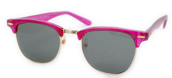 Vintage Hot Pink Mirrored CM Style Sunglasses  Retro Hot Pink Sunnies.
