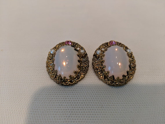 Vintage Opalite West Germany Clip Earrings.  Opalite And Rhinestone Earrings Filigree Gold Tone Setting. Vintage Pink Opalite Clip Ons