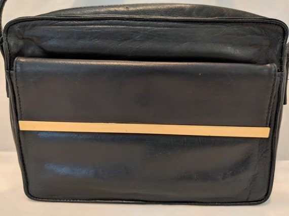 Vintage Carla March Cross Body Bag. Black Soft Leather Cross Body Bag. Small Black Cross Body Super Soft Leather Bag