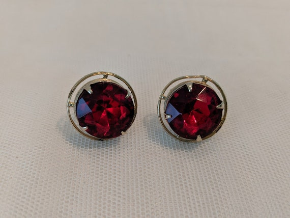 Vintage Assecocraft NYC Clip/Screwback Earrings. Red Large Rhinestone Button Vintage Earrings.