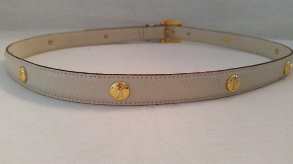 Paloma Picasso Leather Belt, Cream Color Paloma Picasso Leather Belt Made in Italy, Gold Signature emblems on Paloma Picasso Cream Belt