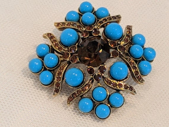 Vintage Blue and Amber Chico Brooch.   Blue Stones and Amber Rhinestones Chico Pin.