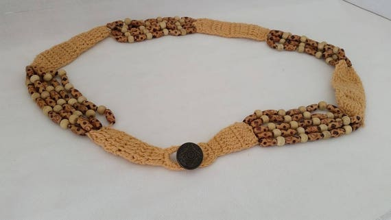 Vintage Crochet Belt Accented With Wood Beads. Crochet And Wood Bead Front Button Closure Belt. Cute Crochet Tan and wood Belt SALE SALE