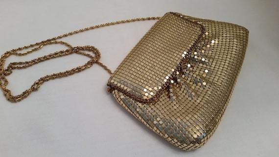 Vintage Gold Mesh Formal Clutch, Vintage Gold Mesh Shoulder Bag, Cute Small Evening Bag, Small Gold Mesh Formal Purse, Gold Mesh Bag