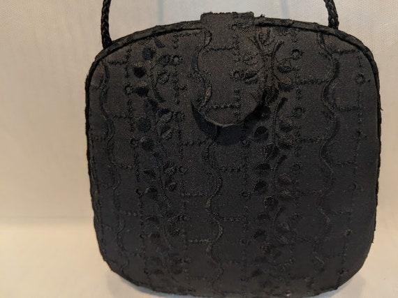 Vintage Hard Shell Formal Bag.  Black Brocade Hard Shell shoulder Bag.  Black Hard Shell Evening Bag. Hard Shell Formal Brocade Crossbody.
