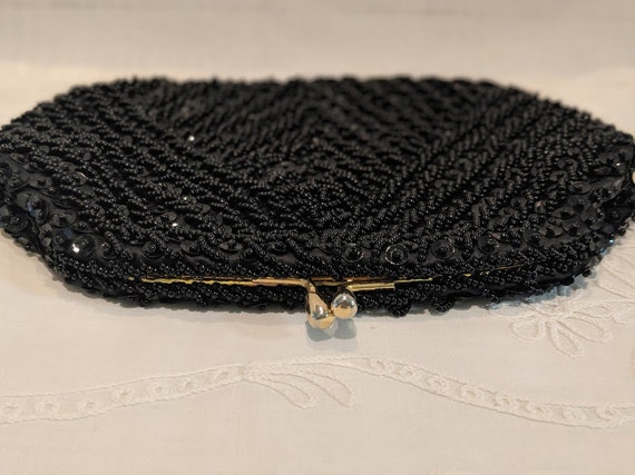 Vintage Safco Black Beaded Evening Bag.  Safco Formal Black Beaded and Squence Clutch Bag. Small Beaded Formal Bag. Evening Clutch