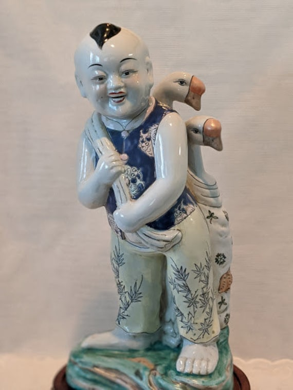 Vintage Porcelain Chinese Boy Carrying Two Geese in Rucksack Over Shoulders. Hand Painted Large Statue Asian Chinese Boy Carrying Geese.