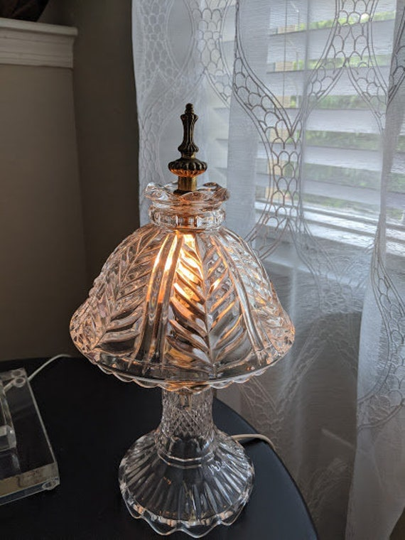 Vintage Cut Glass Small Lamp. Cut Crystal Small Lamp. Cute Crystal Lamp/ Nightlight Lamp.
