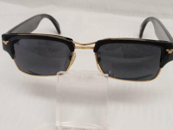 Vintage Police Style Small Rectangular Sunglasses/Black. Retro Rectangular Style Sunnies. Classic Retro Police Style Shades.