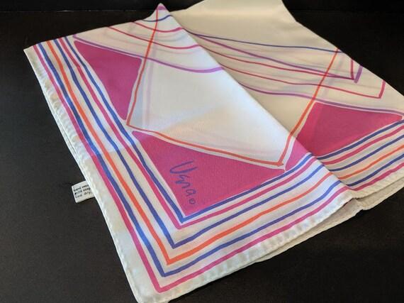 Vintage Vera Square Scarf.  Bright Colors Square Acetate Vera Design Scarf.  Vera Scarf Made in Japan. Collectible Vera Square Retro Scarf