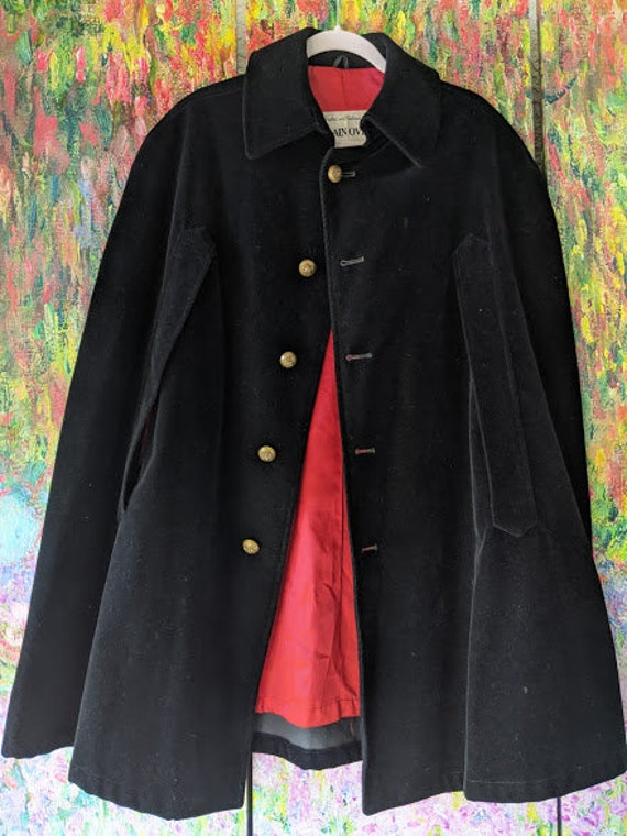 Vintage Edwardian Velour Cape. Black Formal Cape R