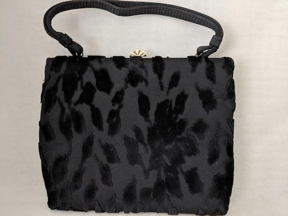 Vintage Meyers Evening Bag. Meyer Black Velvet Formal Bag. Raised Velvet Pattern Black Evening Purse. Mad Men Style Vintage Wrist Bag.