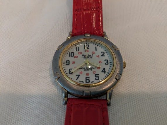 Vintage Perini Quartz Womens Watch. Perini Water Resistant Watch. Perini Torchlite Watch. Perini Red Leather Quartz Watch. Cute Red Watch