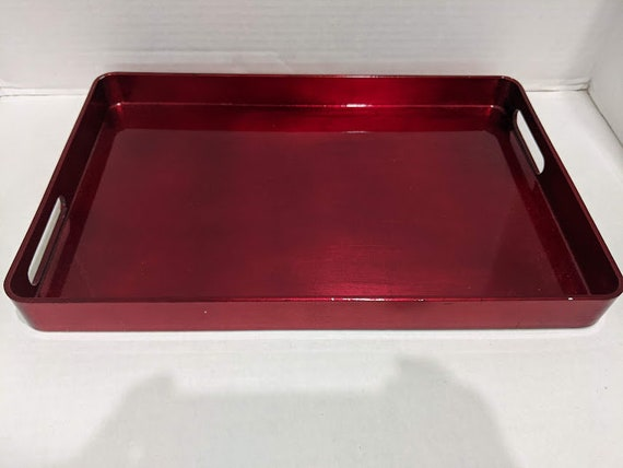 Red Lacquer Glossy Rectangular Serving Tray. Built - in Handles Rectangular Wood Serving Tray. Wood Red Glossy Lacquer Finish Serving Tray