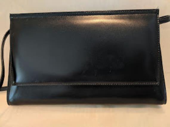 Vintage Rene Blue/Black Leather Purse.  Pelletteria Di Lusso Handbag.  Vintage Rene Leather Shoulder Bag. Rene Leather Purse Made in Italy.